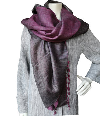 Stole brown and pink, wool and silk
