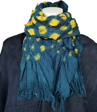Silk scarf green with yellow dot