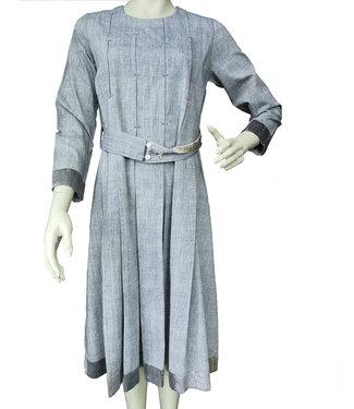 Blauwgrijze katoen jurk met zijde
