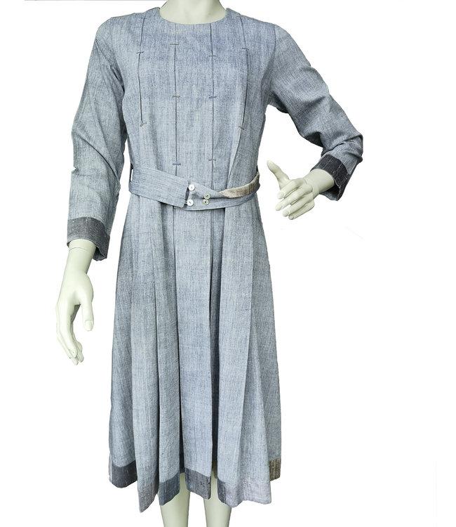 Kishmish Blue-grey cotton dress with silk