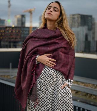 Avani Sjaal bruin en roze wol en zijde