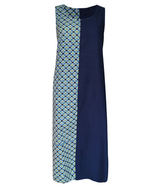 Upasana Blue sleeveless dress with print motif