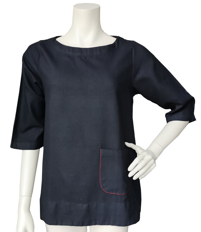 Upasana Black top organic khadi cotton