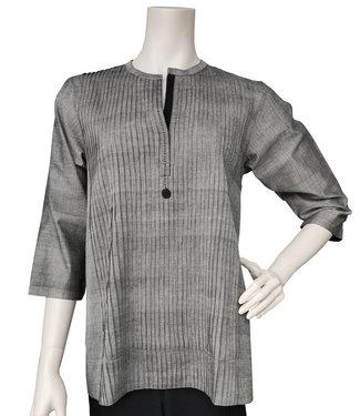 Upasana Geplooide katoenen blouse grijs