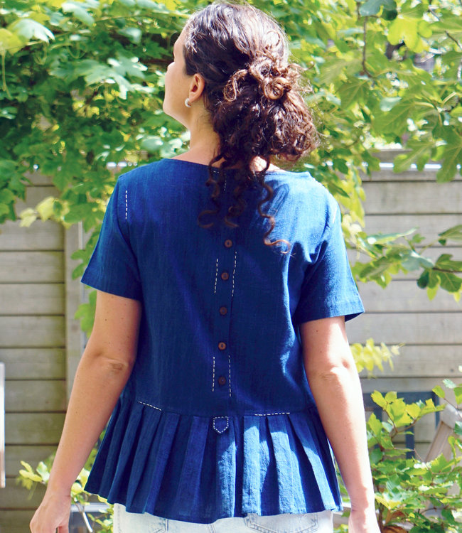 Upasana Top organic cotton blue indigo ruffles