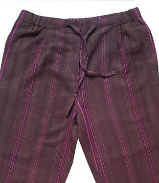 Brass Tacks Bruine katoenen broek met paars streepje