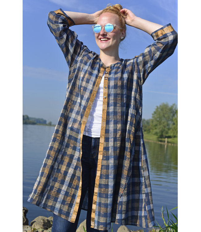 Karomi Blauw zomervest met gouddraad