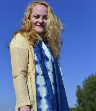 Long blue & white scarf wool