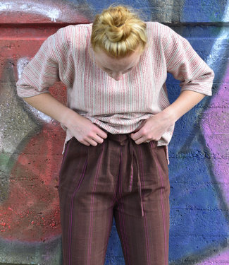 Brass Tacks Brown cotton pants with purple stripes