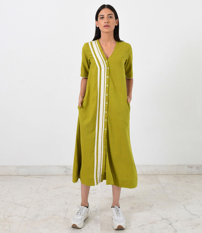 Rias Limoengroene jurk katoen