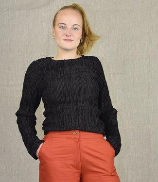 Akaaro Sweater black-brown wool and silk