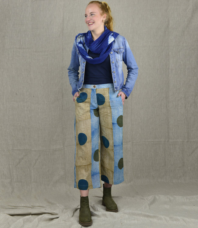 Rias Katoenen broek blauw-groen