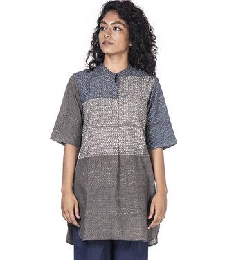 Soham Dave Shirt cotton with dots print grey-indigo