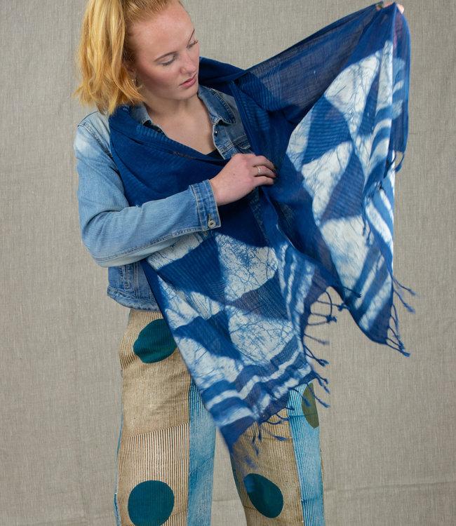 Rias Sjaal katoen natuurlijk Indigo