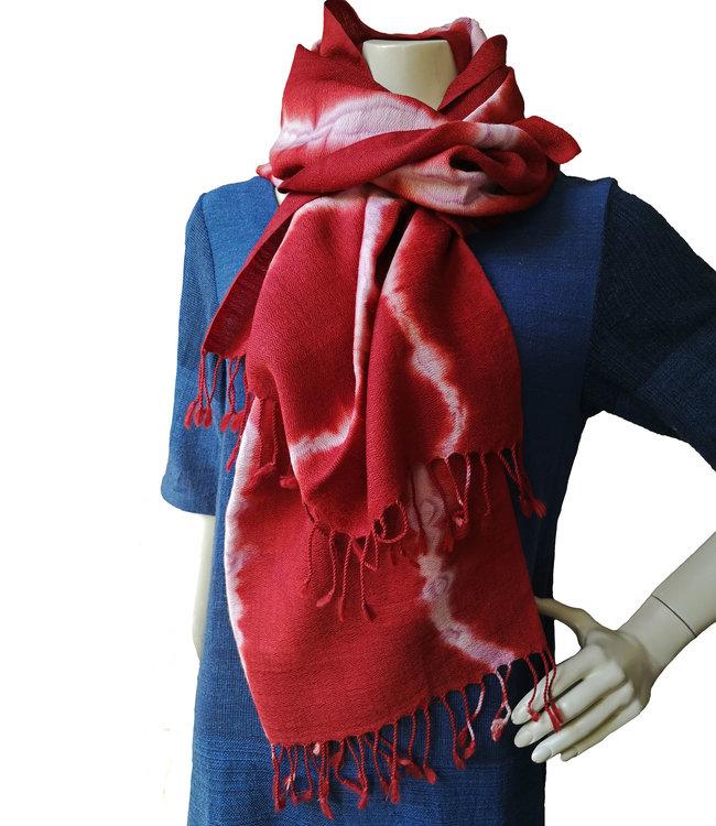 Avani Handgeweven sjaal merinowol rood
