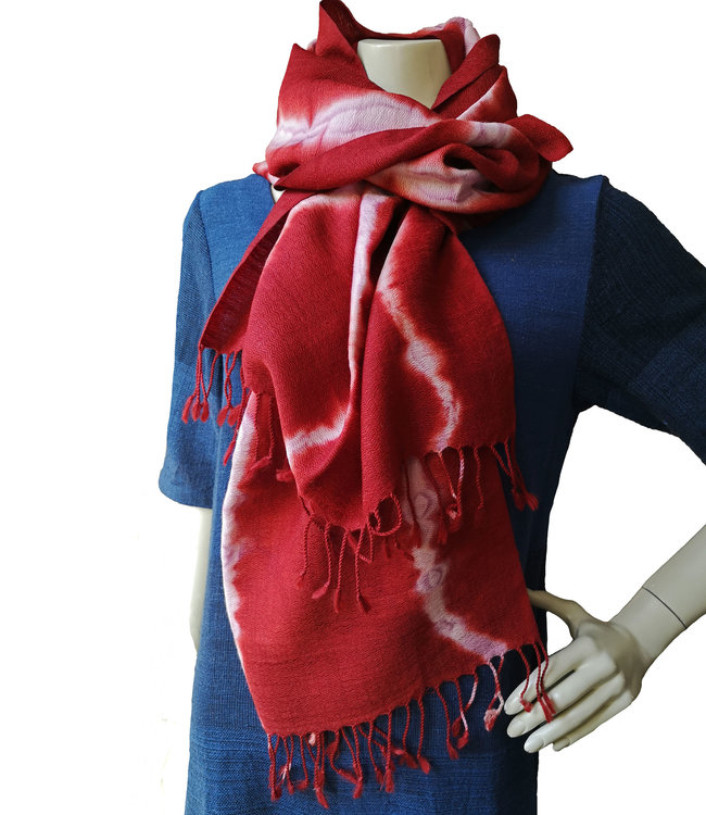 Avani Handwoven shawl merinowool red