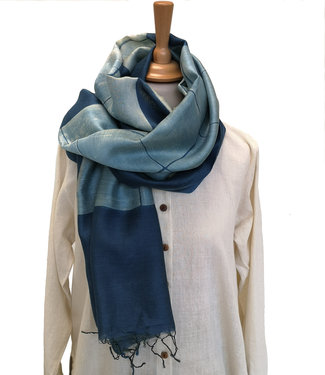 Soham Dave Cotton & silk scarf natural Indigo