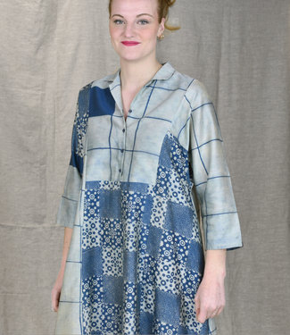Soham Dave Cotton & silk dress Indigo blockprint