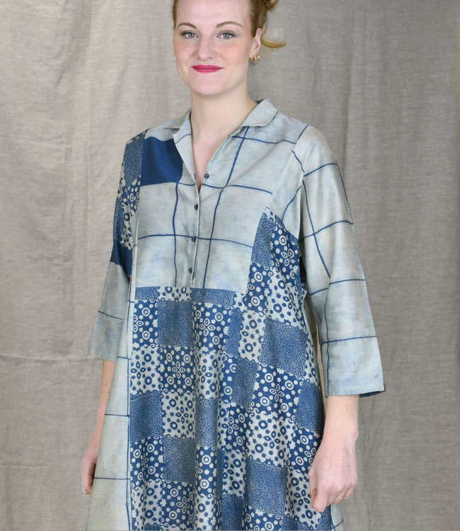 Soham Dave Cotton & silk dress Indigo blockprint