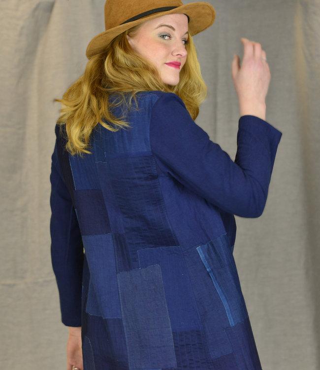 Soham Dave Jacket Indigo cotton & silk patchwork
