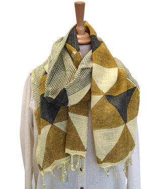 Rias Geelkleurige sjaal katoen