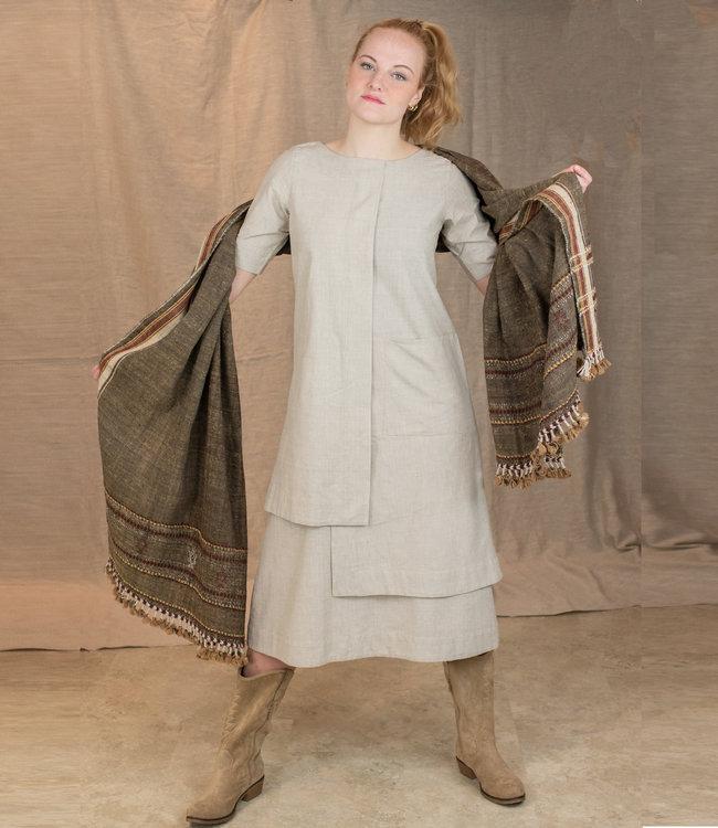 Upasana Lange jurk zandkleur biokatoen