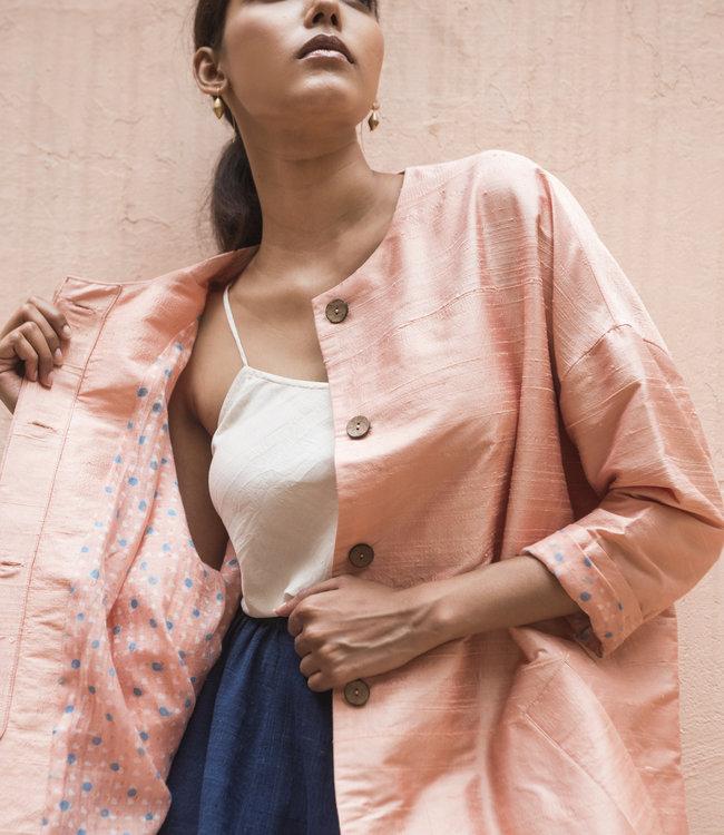 House of Wandering Silk Silk coat pink opal