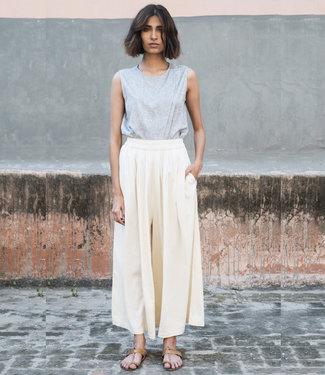 Pants ivory white Eri silk