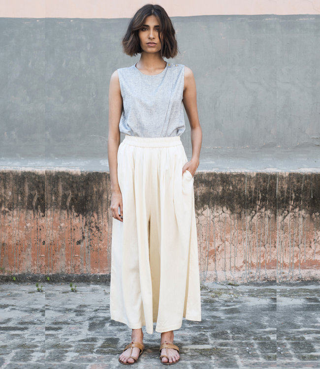 House of Wandering Silk Pants ivory white Eri silk