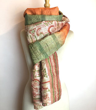 House of Wandering Silk Scarf upcycled silk orange-green embroidered