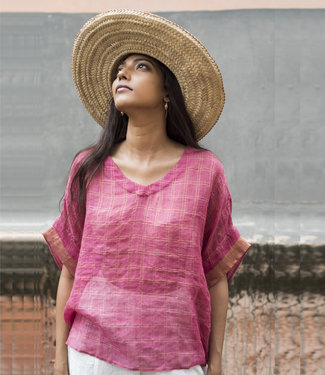 House of Wandering Silk Linen top fuchsia pink