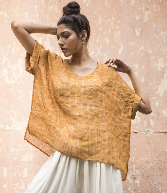 House of Wandering Silk Linen top saffron
