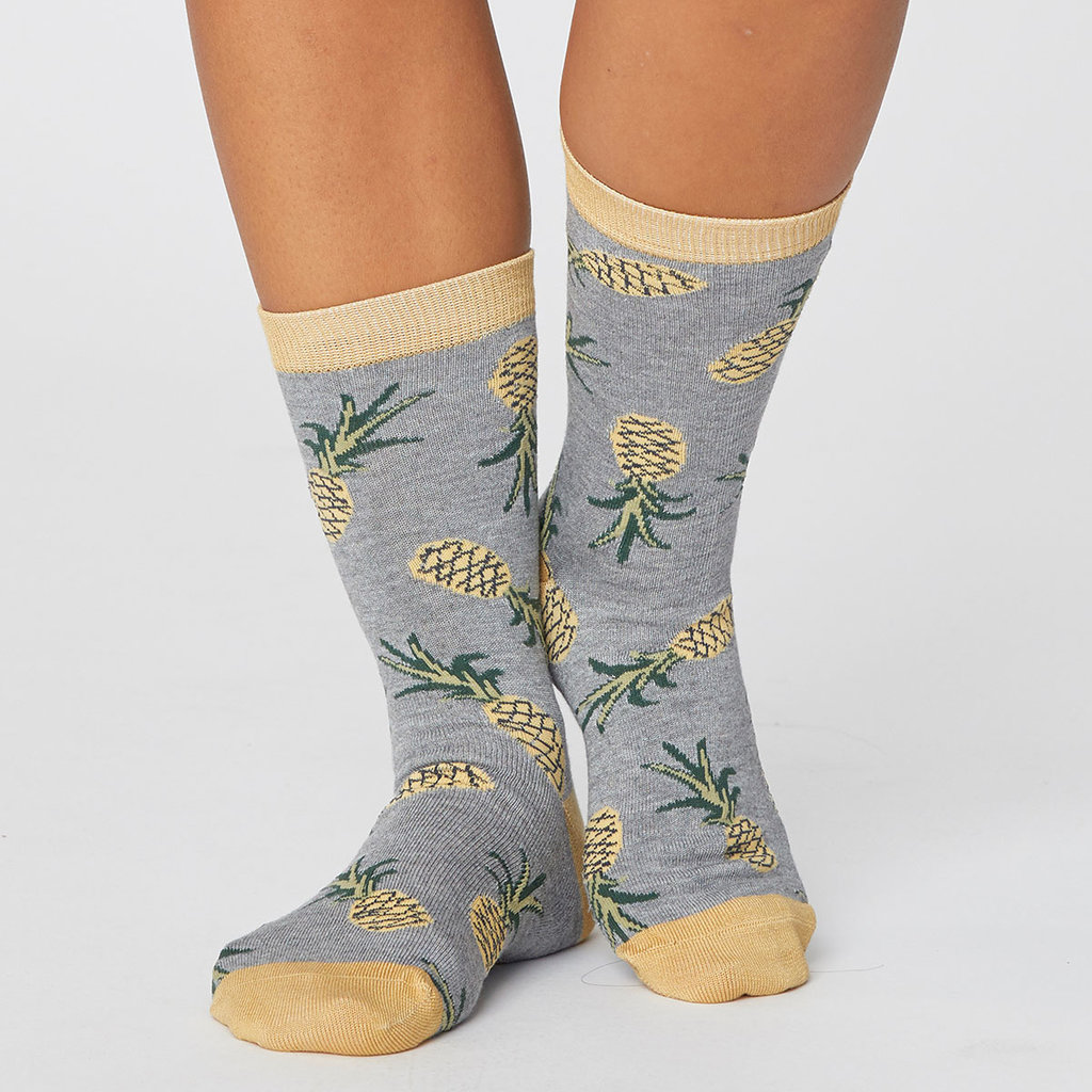 Thought Thought Pineapple socks grijs