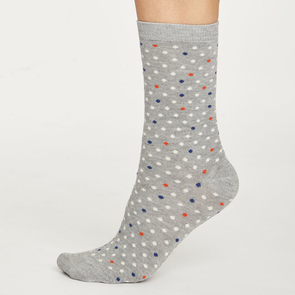 Thought Thought Spotty socks mid grey marle