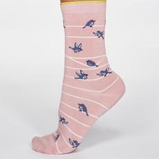 Thought Thought Vivian Bird Socks rose