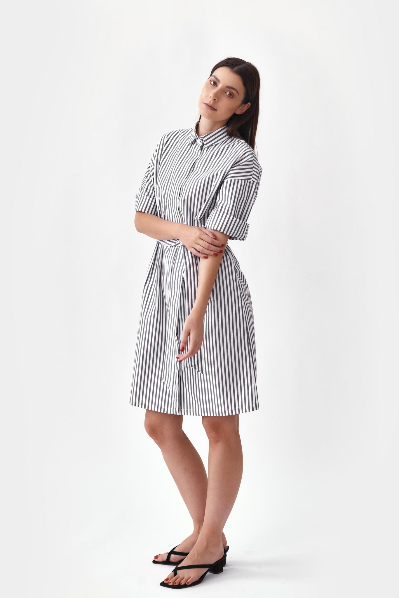 Mila Vert striped shirt dress duurzame mode van biokatoen