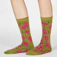 Thought Thought Peggie Floral socks olive green