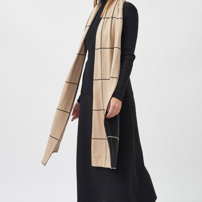 Mila.vert Mila.vert checked pattern scarf sand /black
