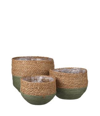 Mica Decorations Plantenmand Jorck groen/bruin 3 st