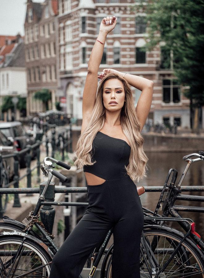 Mia black Cutout & tapered jumpsuit