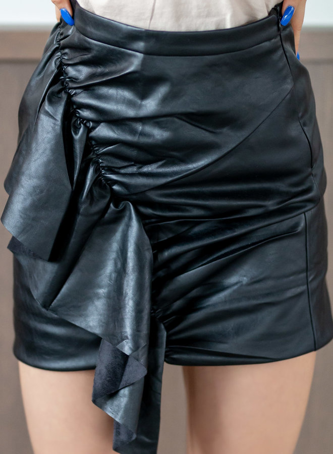 Ready to hit refresh on your new trendy faux leer ruffle skirt?