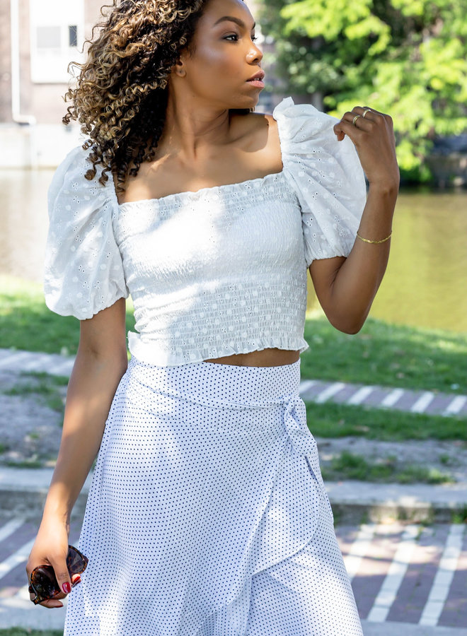 Joshy smoked top with broderie puff sleeves