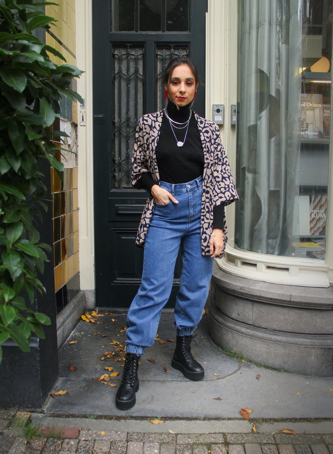Hot Mid Blue Mom Jeans with elastic waistband - Give your off-duty combo a simple update with these bum rip jeans.