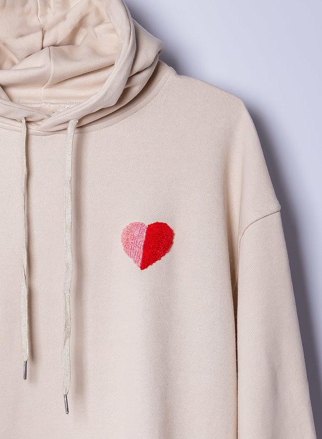 Handmade embroidered Oversized  hoodie love