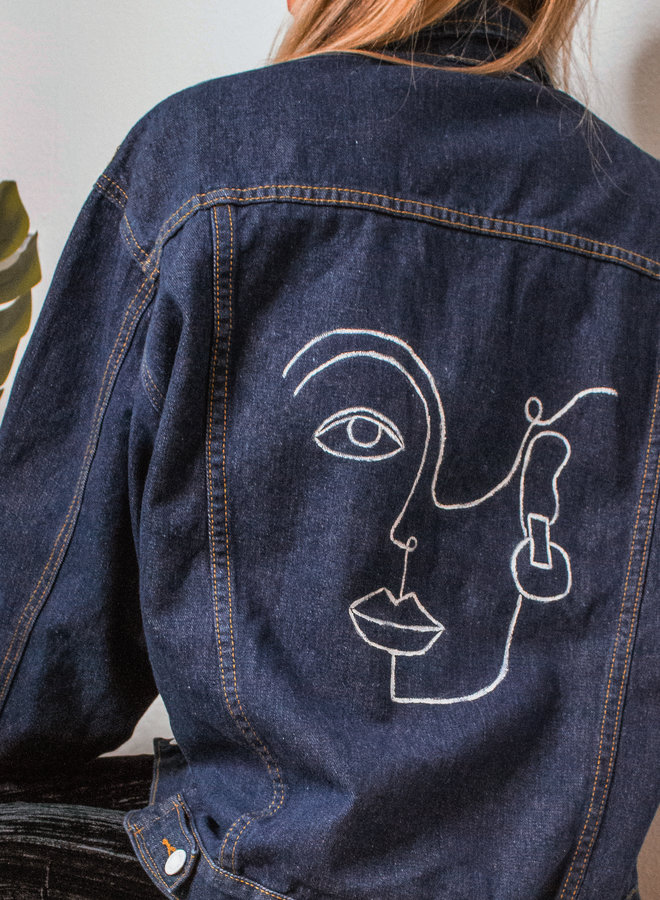 Abstract Hand painted Face Denim Jacket