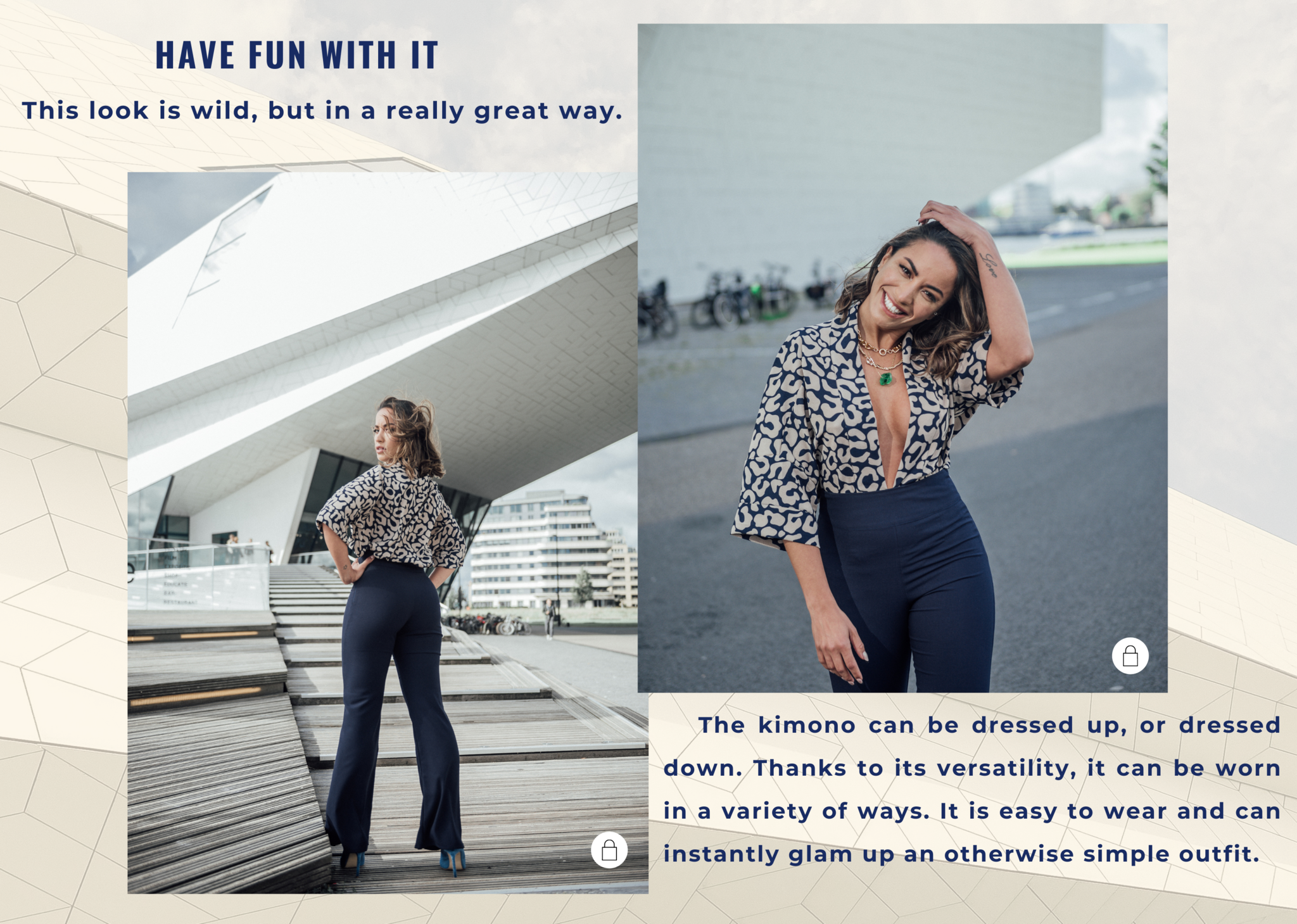 The kimono can be dressed up, or dressed down. Thanks to its versatility, it can be worn in a variety of ways. It is easy to wear and can instantly glam up an otherwise simple outfit.