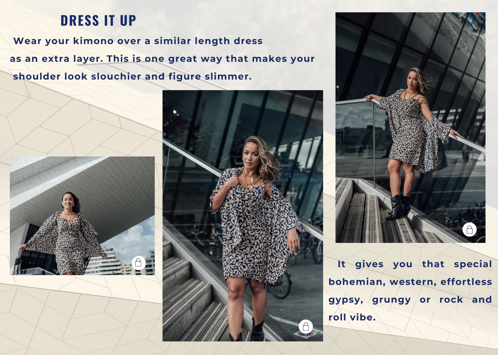 Wear your kimono over a similar length dress  as an extra layer. This is one great way that makes your  shoulder look slouchier and figure slimmer.
