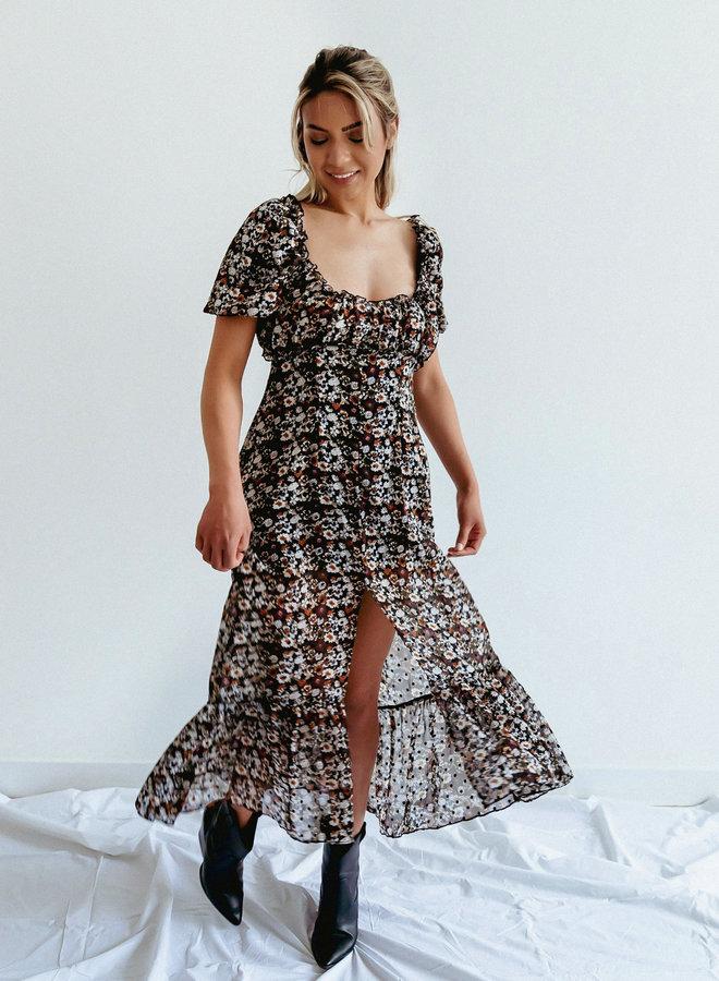 Floral square neckline sweetheart dress