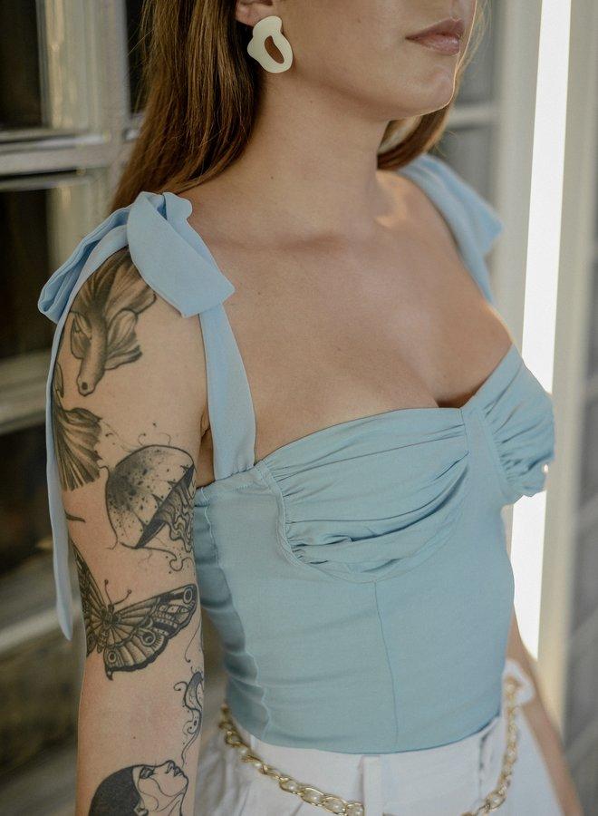 Sky blue tie strap bustier top