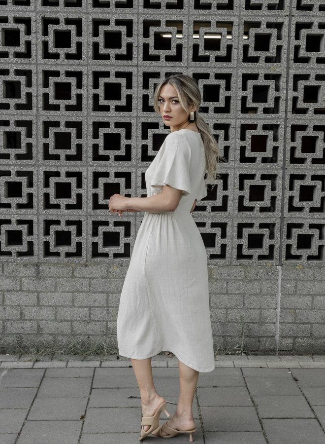 Button Front Flared Sleeves A Line Dress